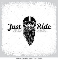 Vintage label with bearded man in a helmet on grunge background for t-shirt print, poster, emblem. Vector illustration. - stock vector