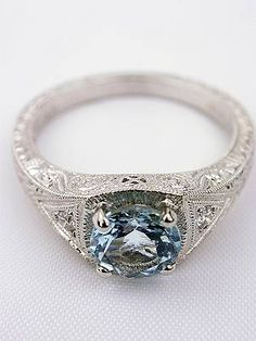 LOVE THIS!!!!!                             Aquamarine Filigree Engagement Ring Size 6.25 $899. Someone needs to have a talk with my future hubby and tell him about this ring!!!! So pretty - the blue is meh.