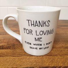 funny coffee mug saying // coffee mug // personalized mug // ceramic mug // thanks for loving me coffee cup // kitchen // funny gifts by hellolovehello on Etsy https://www.etsy.com/listing/219647135/funny-coffee-mug-saying-coffee-mug