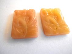 TWO Rare vintage art deco glass stone cab butterscotch angelskin glass Antique Czech carved rectangle Flatback (2) by a2zDesigns on Etsy Art Deco Glass, Carving, Stone, Antiques, Floral, Glass Molds, Color, Beautiful, Design