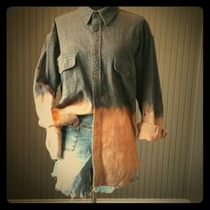 Dip Dyed Boyfriend Shirt Upcycled Repurposed custom made one of a kind brushed cotton shirt. This is a preowned men's large shirt. . . which makes it comfy! Looks great with skinnies or boyfriend jeans. the original color of this shirt is charcoal gray. Tops Button Down Shirts
