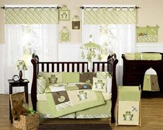 Frog themed nursery.  I am in love.  Perfect for a baby Jeremiah.  Jeremiah was a bullfrog!