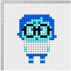 Sadness - Inside Out perler bead pattern Fuse Bead Patterns, Perler Patterns, Beading Patterns, Cross Stitch Patterns, Hama Disney, Fuse Beads, Hama Beads, Crochet Crafts, Bead Crafts