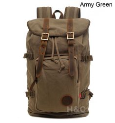 b07b6965b612c Details about Travel Canvas with Leather Backpack Outdoor Sports Camping  Hiking School Bag