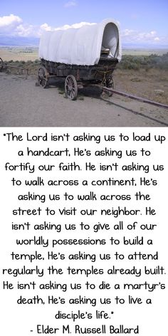 The Lord's asking us to fortify our faith, to walk across the street to visit our neighbor, to attend regularly the temples already built. He's asking us to live a disciple's life. –M. Russell Ballard http://pinterest.com/pin/24066179230275130 of the Quorum of the Twelve Apostles (from his Oct. 2008 http://facebook.com/223271487682878 message 'The Truth of God Shall Go Forth' http://lds.org/general-conference/2008/10/the-truth-of-god-shall-go-forth)