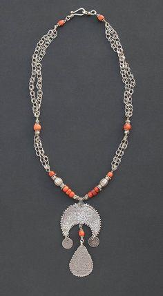Prayer amulet necklace - an antique Berber arabic script prayer amulet with old coral and India silver beads and sterling silver chain - modern ethnic jewelry by Angela Lovett Designs
