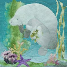 """McKenna Ryan """"Sea Breeze"""" Tootsie and Rumples (Block 5) Manatee Ocean, Quilting CUTE IDEA- swap out manatee for narwhals to make it Alaskan :)"""