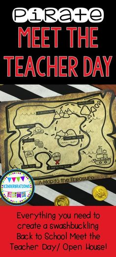Argh!  Do you do a Back to School Meet the Teacher or Open House? Your students will love following the treasure map to complete hands-on activities, get to know your classroom, and find the hidden treasure!  Includes printables, decor,  and activities to help you create an unforgettable day and to welcome students- pirate style!