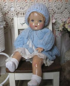 "22"" Large Antique Vintage Madame Alexander Composition Cloth Doll 