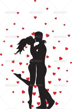 Silhouette of kissing couple and hearts - Valentines Seasons/Holidays
