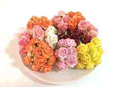 50 PCS COLOURFUL MULBERRY PAPER ROSES FLOWERS DIY LOVE CARD WEDDING DECOR 15mm #Handmade