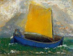 """Odilon Redon. """"La barca mística"""", s/f. Pastel sobre papel tela. 51 x 63,5 cm. Colección Ian Woodner, Nueva York."""