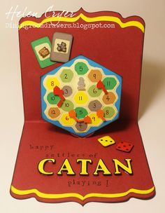 This card by Helen Cryer makes me happy! The Dining Room Drawers: Settlers of Catan Sizzix Pop 'n Cuts Card!