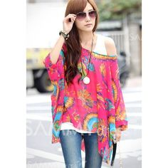 $7.94 Loose-Fitting Peacock Displays Pattern Batwing Sleeve Chiffon Blouse For Women