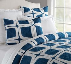 Indigo Quilt & Sham | Pottery Barn possibly in the gray