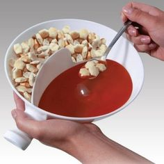 I've seen this for cereal, but I like the soup idea for the bowl!