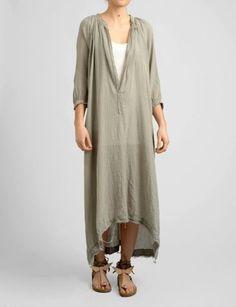 gauze 3/4 sleeve solid tunic dress by tracy sam