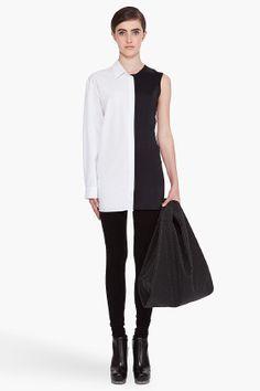 maison martin margiela asymmetric button down plus bag Fashion Week 2015, Spring Fashion, Women's Fashion, Fashion Sewing, Ruffle Top, Blouse Designs, Blouses For Women, Geometry, Catwalk
