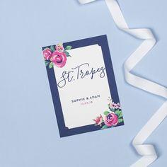 Navy and vintage rose personalised wedding table names by Project Pretty Wedding Table Names, Our Wedding, Floral Wedding Stationery, Design Suites, Rose Design, Vintage Roses, Personalized Wedding, Navy, Pretty