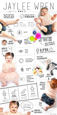 LARGE custom designed one year baby infographic, digital file Baby Infographic, Foto Baby, Babies First Year, Baby Birthday, 1 Year Old Birthday Party, Mermaid Birthday, Birthday Parties, Baby Time, Baby Pictures