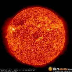 The hourly sun (at 12:44 am  UTC on 31 January 2013)
