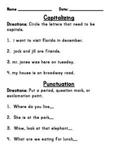 Worksheet Punctuation Worksheets For 2nd Grade capital letter worksheets education pinterest capitalization and punctuation practice packet becca teacherspayteachers com
