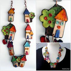 by Anarina Anar Polymer Beads, Polymer Clay Necklace, Clay Beads, Ceramic Jewelry, Enamel Jewelry, Jewellery, Fimo Clay, Polymer Clay Crafts, Clay Art Projects