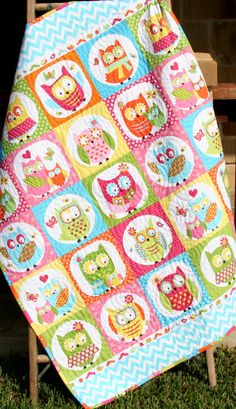 Hibou Baby Quilt Patchwork Girl literie couverture chambre