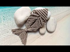 DIY macrame fish wall decor tutorial, easy macrame pattern for beginners, step by step, summer decor - YouTube Macrame Patterns, Crochet Patterns, Fish Wall Decor, Macrame Design, Macrame Knots, Cotton Rope, Beige Color, Winter Hats, Crafts
