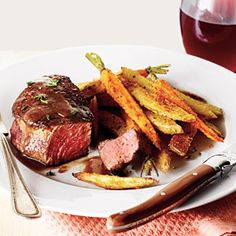 Beef Filets with Red Wine Sauce and Roasted Veggie Fries | MyRecipes.com