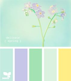 A little girls room colors Delicate Spring Color Palette via Design Seeds. This light, airy color combination is superb! The green, blue hues mix so perfect with the yellow tone, simply beautiful. This could pair very well with a nice earthy wood. Palettes Color, Spring Color Palette, Colour Pallette, Color Palate, Spring Colors, Colour Schemes, Color Combos, Design Seeds, Decoration Palette
