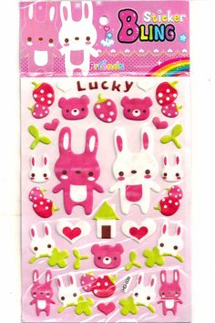 Scrapbook Stickers Puffy Kawaii Bunny and Bear by AVAArtsSupplies, $2.00