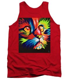 Cat Tank Top featuring the painting Colorful cat by Iulia Paun