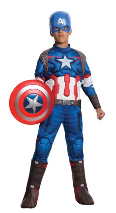 Avengers 2 Deluxe Captain America Kids Costume - Mr. Costumes