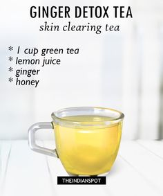 Lemon juice is very good ingredient to cleanse out the system and ginger has anti-inflammatory benefits. It helps to keep your skin clear and acne free. What you need: green tea bag Lemon juice- from lemon Ginger – 1 inch honey – ½ tablespoon Recipe Healthy Detox, Healthy Juices, Healthy Drinks, Detox Juices, Healthy Snacks, Healthy Recipes, Detox Tee, Detox Tea Diet, Body Detox