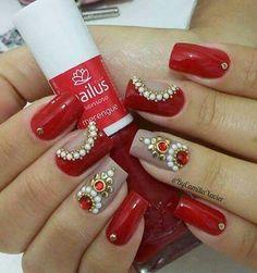 Maravilhosas!!!❤❤ Beautiful Nail Designs, Beautiful Nail Art, Gorgeous Nails, Pretty Nails, Gem Nails, Hair And Nails, Gel Nail Designs, Colorful Nail Designs, Nail Jewels