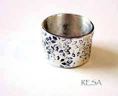 Wide Band Ring of Leaves Sterling by ResaArtDesign on Etsy, $110.00