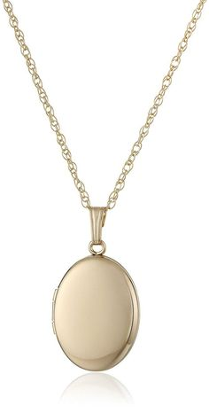 Yellow 14k Gold-Filled Polished Oval Locket Necklace, 18' >>> To view further for this item, visit the image link.