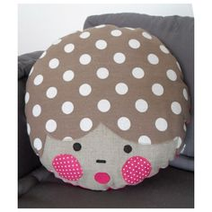 La Camille kids Pillow - Pink with brown dots
