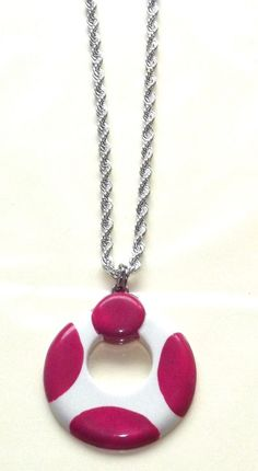 Round Necklace~Pink & White Round necklace~Necklace-Silver plated necklace