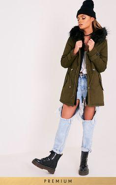 5b63946cb5c Jen Black Premium Faux Fur Lined Parka Coats For Women, Fur Coats, Parka,