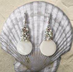 earrings white. elegant long with natural nacre. от Lybid на Etsy, $19.00