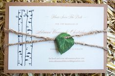 Aspen leaf save the date from a destination wedding by Bluebird Aspen.
