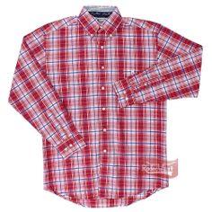 Camisa Wrangler George Strait Signature modelo Cowboy Cut Collection masculina importada, confeccionada em tecido 100% Algodão com detalhes em bordados finos, estampa xadrez com cores Vermelho / Branco / Azul, manga longa, bolso frontal com bordado em alta definição e fechamento em botões. - http://www.rodeowest.com.br/p/camisa-masculina-xadrez-manga-longa-by-george-strait-wrangler-12495.html