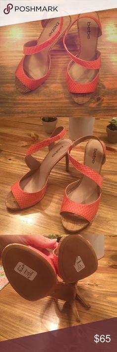 Coral Bebe heels! Worn once! Perfect condition!! 4.5in heels! bebe Shoes Heels