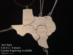 Steling Silver State Puzzle Necklace - ANY state - Personalized - Valentine by CopperfoxGemsJewelry on Etsy