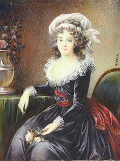 Portrait miniature de Marie Thérèse de Savoie Carignan, princesse de Lamballe, par Louise Elisabeth Vigée Lebrun
