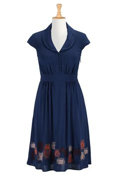 eShakti Women's Hoot couture stretch crepe dress