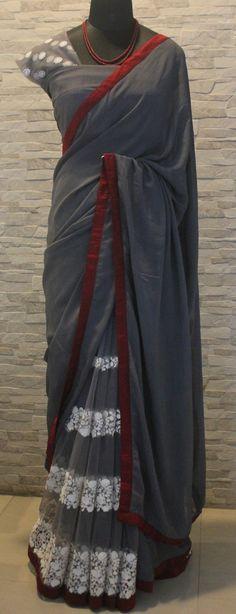 Sambalpuri Saree, Grey Saree, Sari Design, Indian Fashion Trends, Simple Sarees, Saree Trends, Stylish Sarees, Elegant Saree, Fancy Sarees
