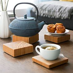 Use discarded wood to make these chic coasters | via Better Homes & Gardens